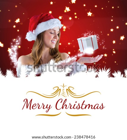 sexy santa girl presenting with hand against border - stock photo