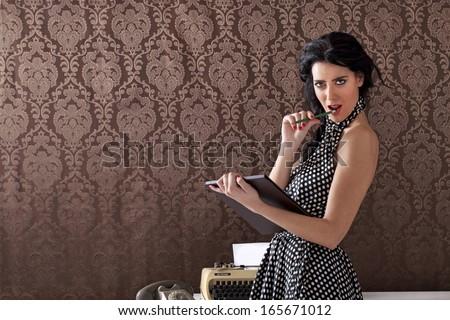 Sexy secretary provocating clients, vintage scene - stock photo