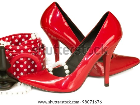 Sexy shoes and perfume bottle isolated on white background. - stock photo