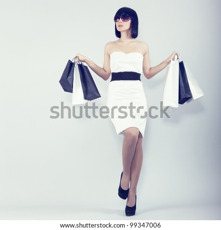 sexy shopping girl - stock photo