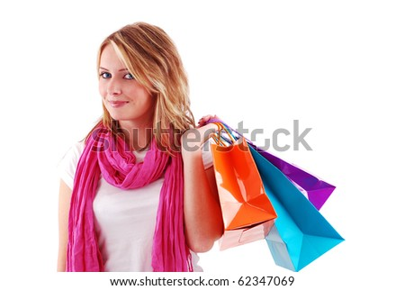 Sexy shopping girl isolated on white background