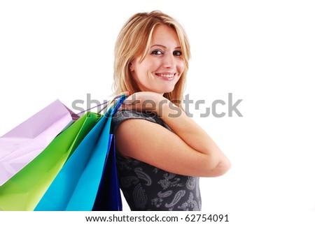 Sexy shopping girl isolated on white background - stock photo