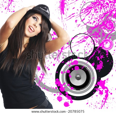 sexy showgirl  girl over abstract music modern design background