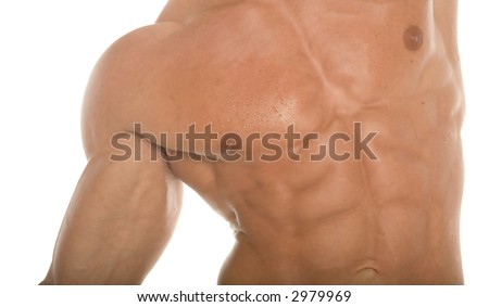 Sexy sixpack abs - stock photo