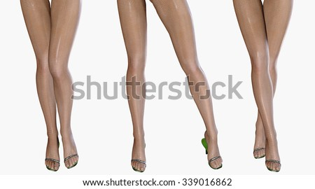 Sexy slim female legs in latex stockings. Conceptual fashion art. Shiny pantyhose. 3D render.