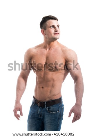 Sexy smiling shirtless male model with muscular body and abs against isolated white background looking to the camera - stock photo