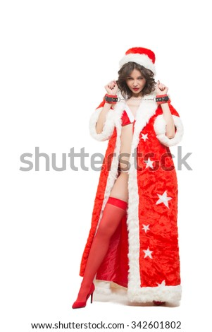 Sexy Snow Maiden headphones for sex games. Isolated on white background. santa girl