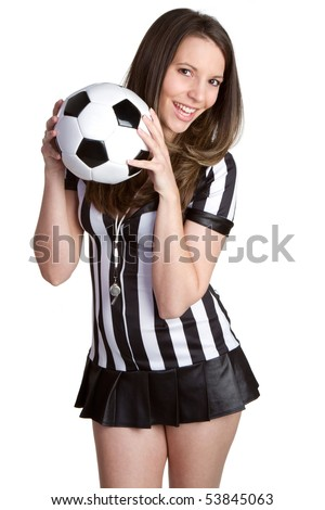 Sexy soccer referee holding ball - stock photo