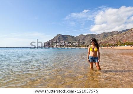 Sexy Spanish Woman in Las Teresitas Beach, Tenerife - stock photo