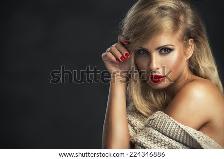 Sexy strict woman with red lips  - stock photo