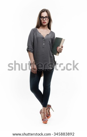 Sexy Student Girl with a Vintage Book, Isolated on White - stock photo