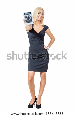 Sexy stylish blond woman holding up a calculator with the display facing the camera and her hand on her hip, isolated on white - stock photo