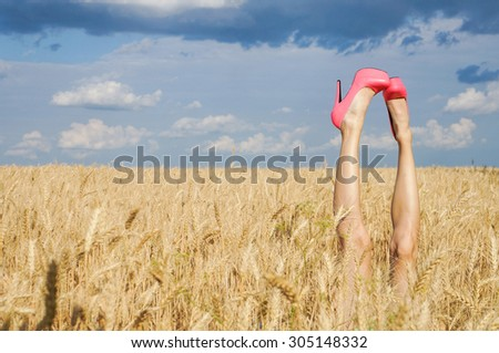 Sexy summer field legs sticking out of the wheat over dramatic blue sky. grain added - stock photo
