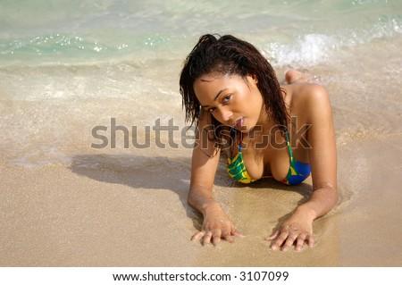 sexy swimsuit girl on beach - stock photo