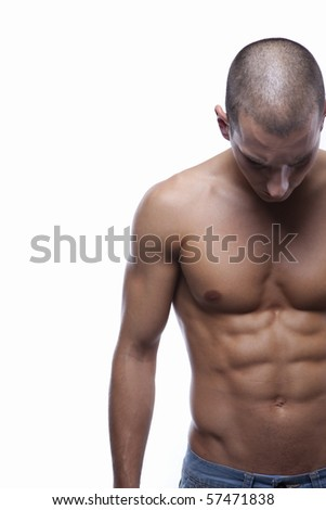 Sexy well trained male's body with great abs (torso) - stock photo