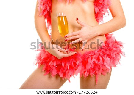 Sexy woman and goblet with champaign - stock photo