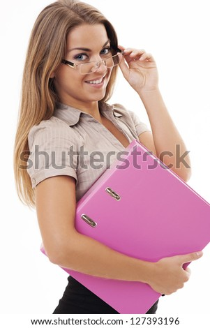 Sexy woman at work - stock photo