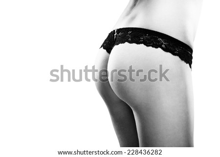 Sexy woman buttocks on the white backgroud, black and white photo