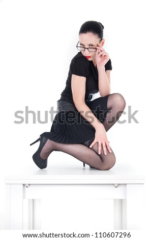 Sexy woman / clerk with red lips - stock photo