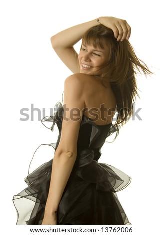 Sexy woman dancing in black dress - stock photo