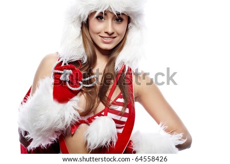 sexy woman dressed in christmas red dress - stock photo