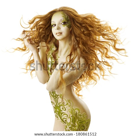 sexy woman fantasy hairstyle, sensual fashion tattoo makeup, naked beauty girl with long hairs and floral body art  - stock photo