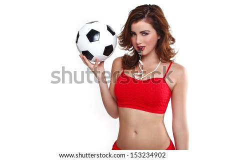 Sexy Woman Holding a Soccer Ball on White Background - stock photo