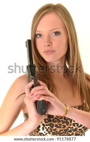 Sexy woman holding gun - stock photo