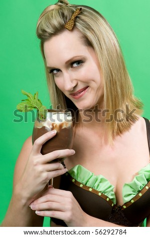sexy woman holding mint chocolate dessert