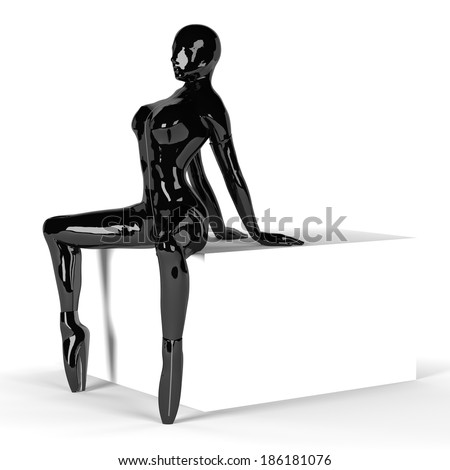 Sexy Woman in black latex Catsuit and Gloves, Hood and Ballet Boots, sitting on big white Box - stock photo