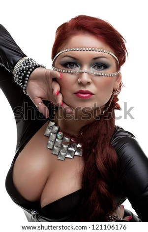 Sexy woman in latex costume and gorgeous breast