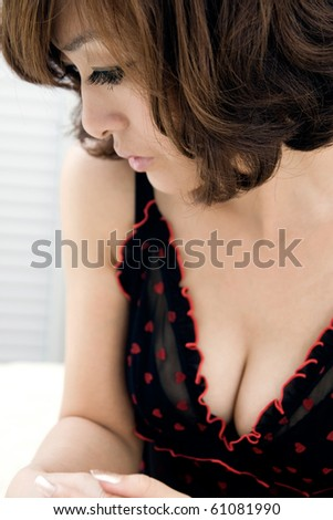 sexy woman in lingerie,contemplating - stock photo