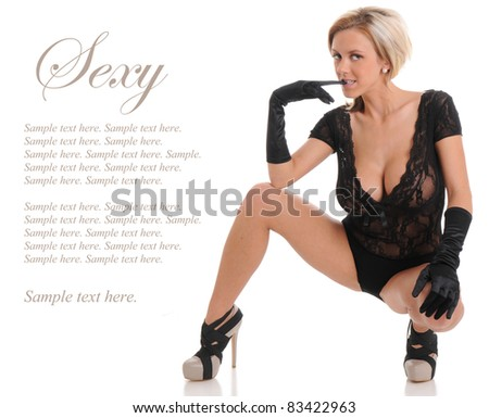 Sexy Woman in Lingerie, gloves and heels Classic Beauty with Text Space to the left - stock photo