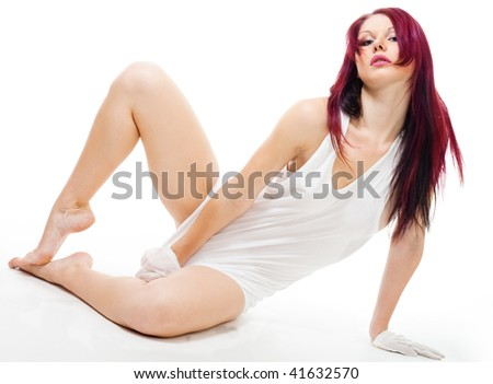 sexy woman in men's shirt laying on the floor