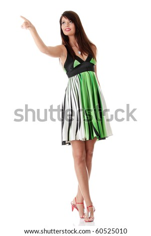 Sexy woman in summer dress, isolated on white background