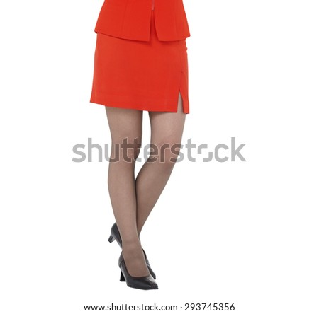 Sexy woman leg isolated white backgroundn legs, red skirt - stock photo