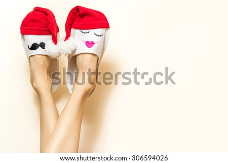 Sexy woman legs. Christmas shopping concept background with copy space. creative idea - stock photo