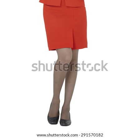 Sexy woman legs, red skirt - stock photo