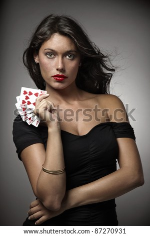 sexy woman on gray background - stock photo