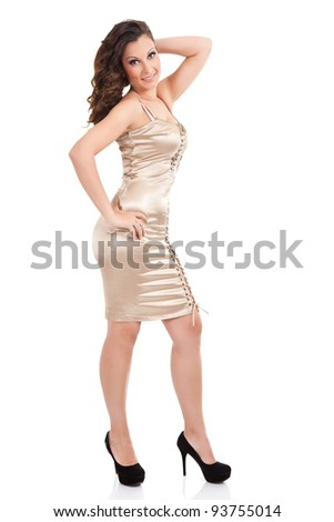 sexy woman posing in short dress, isolated on white background - stock photo