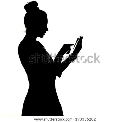 sexy woman silhouettes with phone - stock photo