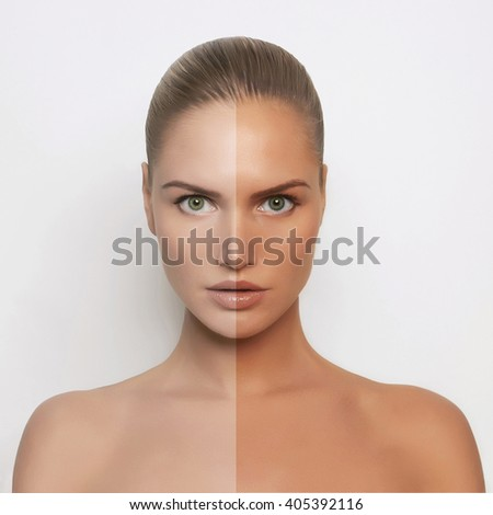 sexy woman tan half face beauty portrait. blond beautiful girl in solarium.ready for summer - stock photo
