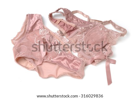 Sexy woman underwear, white background, isolated, copyspace - stock photo