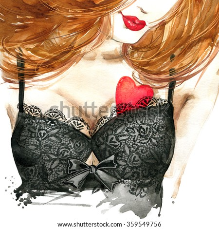 sexy woman watercolor drawing. Erotic young woman in sexy underwear and Valentine's Day background. Valentine day watercolor illustration. Valentine day red heart and beautiful woman. - stock photo