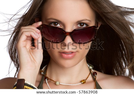 Sexy woman wearing sunglasses - stock photo