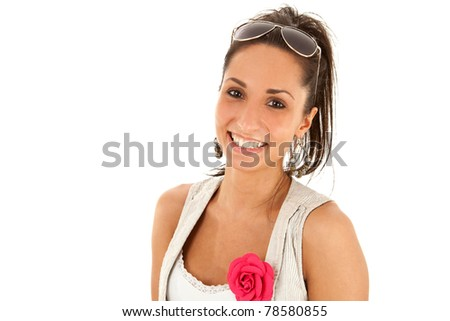 Sexy woman wearing sunglasses against white background - stock photo
