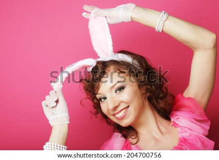 Sexy Woman with Bunny Ears. Playboy Blonde. Smiling Easter  - stock photo