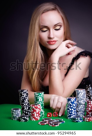 sexy woman with game chips