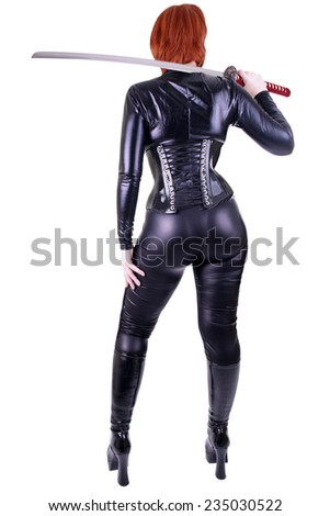 Sexy woman with katana - stock photo