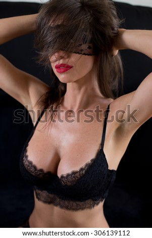 sexy woman with mask  - stock photo
